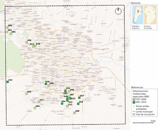 Localización de las Urbanizaciones Residenciales Especiales en el Municipio de Córdoba según período (1991-2010)
