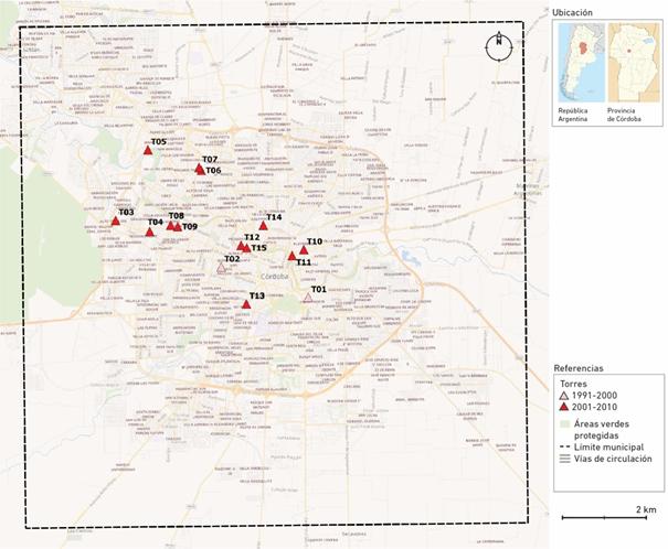Localización de las torres en el Municipio de Córdoba según período (1991-2010)