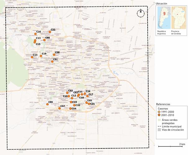 Localización de las Casonas en el Municipio de Córdoba     según período (1991-2010)
