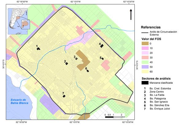 Sectores de análisis y  distribución del valor del FOS en la ciudad de Bahía Blanca