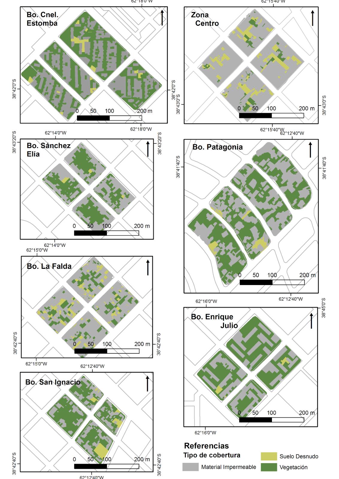 Distribución  de los tipos de cobertura de la superficie en los distritos analizados