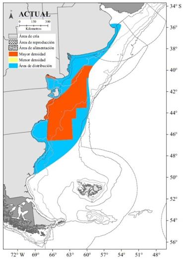 Distribución  espacial de la pesquería de langostino en el Mar Argentino.
