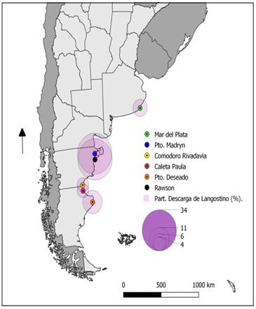 Principales puertos  argentinos que reciben descargas de langostino, año 2019.