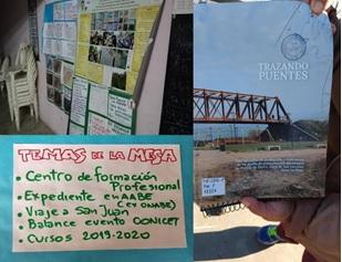 Figura 11. La revista de Puente de Fierro (izq.) y el trabajo colectivo  en las MTP (der.).