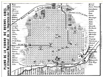 Plano de las calles de la ciudad, ajustado al tamaño de una página. En Almanaque Nacional y Guía del Comercio para 1870 (…), encuadernado contra la portada. Dimensiones: plegado: 15.3 x 10.8 cm; abierto: 15.30 x 21.6 cm.