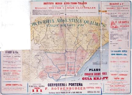 Plano de la Ciudad de Buenos Aires: obsequio a los suscritores[sic] de la Guía Kraft (aprox. 1889). Dimensiones 47 x 61 cm. sobre pliego 70 x 94 cm; escala aproximada 1:30.000. https://catalogo.bn.gov.ar/F/?func=direct&doc_number=001301443&local_base=GENER).