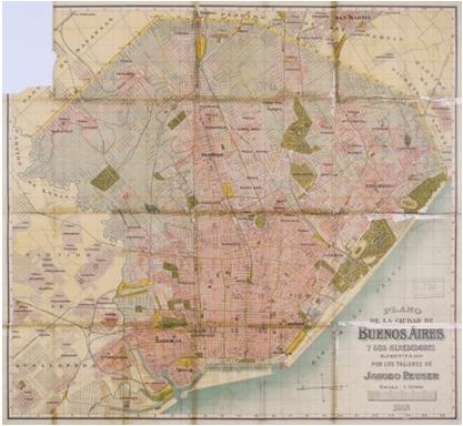 Plano de la Ciudad de Buenos Aires y sus alrededores, ejecutado por los Talleres de Jacobo Peuser(1912). Dimensiones 80 x 87 cm, escala 1:25.000.  https://catalogo.bn.gov.ar/F/?func=direct&doc_number=001060240&local_base=GENER