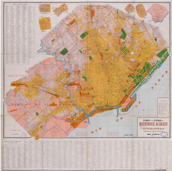 Plano de la Ciudad de Buenos Aires y Avellaneda, Oficina Cartográfica de Baz y Cabral (1933). Litografía, dimensiones 54 x 67 cm, escala 1:35.000. Con clave cromática.https://catalogo.bn.gov.ar/F/?func=direct&doc_number=000093002&local_base=GENER.
