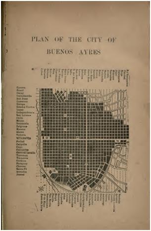 Plan of the city of Buenos Ayres, en Mulhall 1892, p. 687. Dimensiones 18 x 11,6 cm.