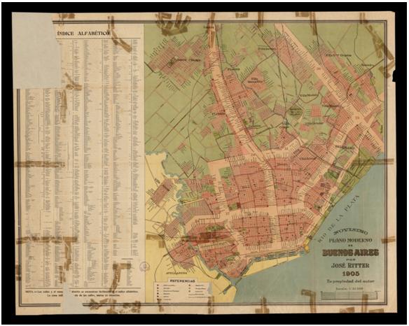 Novísimo plano moderno de Buenos Aires, José Ritter (1905). Dimensiones 69 x 87 cm, escala 1:31.500. https://cartotecadigital.icgc.cat/digital/collection/america/id/806/rec/4.