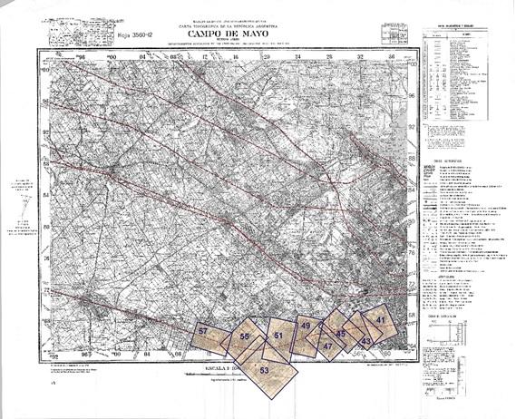 Fig. 3. Montaje de las  láminas 41 a 57 de Filcar sobre el  plano base del IGM, sección Campo de Mayo.
