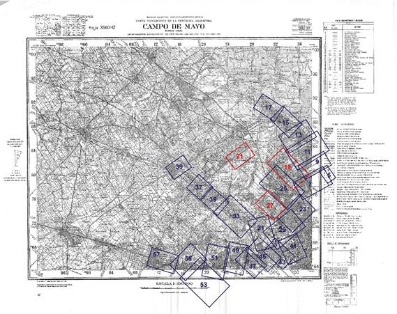 Fig. 4. Montaje de las  láminas Filcar sobre el plano base del IGM, sección Campo de Mayo.