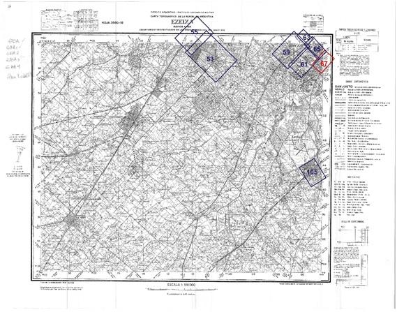 Fig. 5. Montaje de las  láminas Filcar sobre el plano base del IGM, sección Ezeiza.