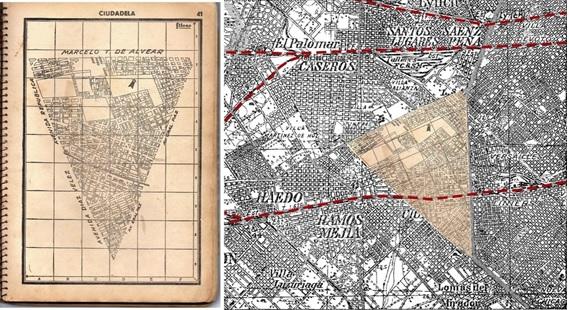 Fig. 6. Láminas  Filcar y detalle de montaje sobre un sector Ciudadela, sobre el plano del IGM,  sección Campo de Mayo