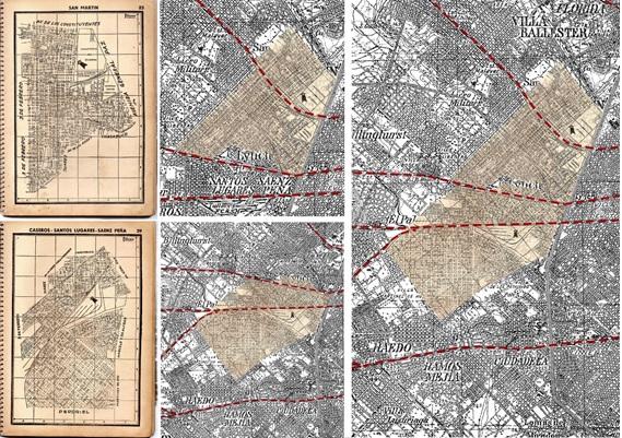 Fig. 7. Láminas Filcar  y detalle de montaje sobre un sector San Martín y Caseros, sobre el plano base  del IGM, sección Campo de Mayo
