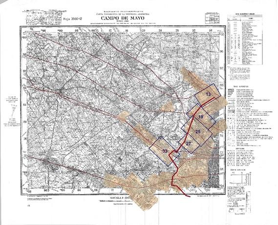 Fig. 8. Montaje  completo sobre plano del IGM, sección Campo de Mayo.