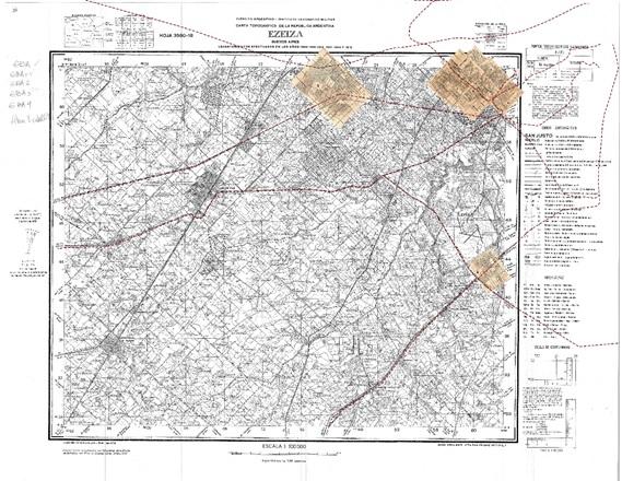 Fig. 9. Montaje de  las láminas Filcar sobre el plano base del IGM, sección Ezeiza.