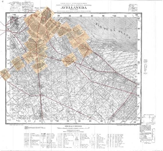 Fig. 11. Montaje de  las láminas Filcar sobre el plano base del IGM, sección Avellaneda.