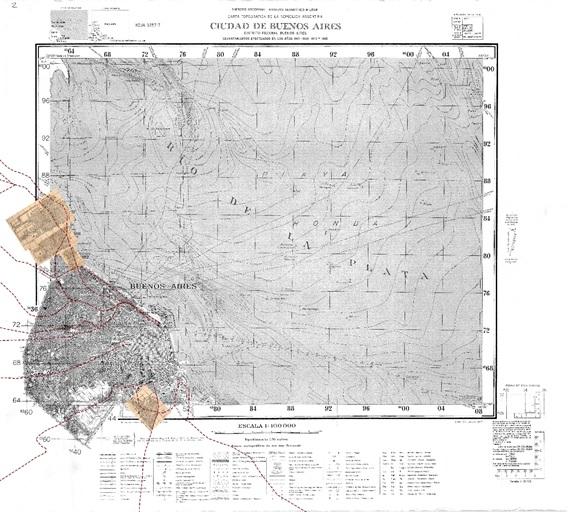 Fig. 12. Montaje de  las láminas Filcar sobre el plano base del IGM, sección Capital.