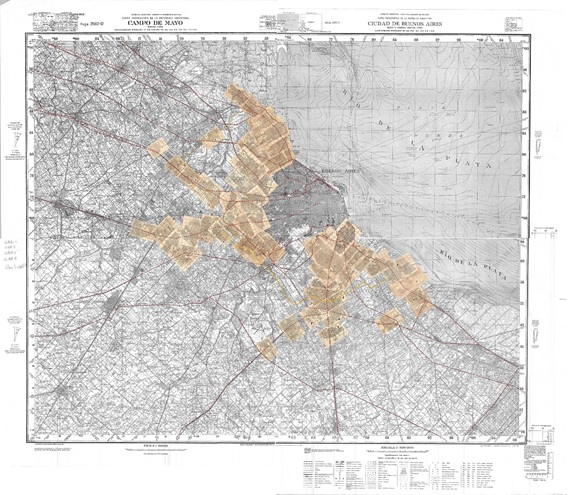Fig. 13. Restitución  completa de las láminas que componen la guía Filcar sobre el plano base del IGM.
