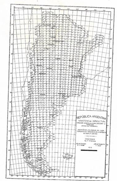 Grilla presentada en la Memoria de 1912 de la Dirección de Minas, Geología e Hidrología