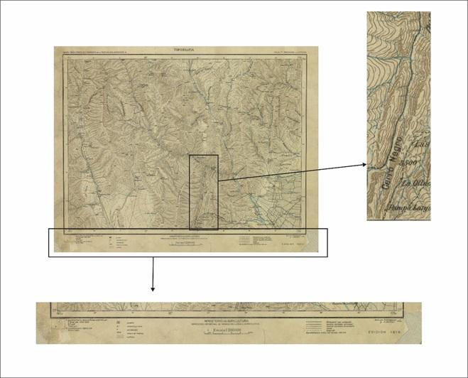 Hoja topográfica de la DMGeH, con detalle de representación del relieve y leyenda antes de 1940